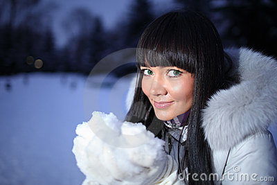 Woman winter snow