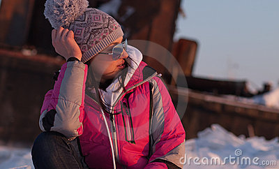 Woman in winter snow