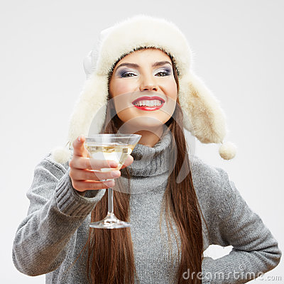 Woman winter style clothes portrait. Smiling model