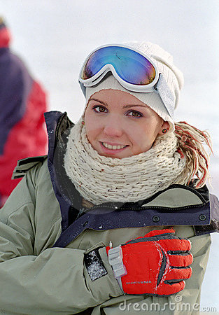 Woman at winter vacation