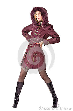 Woman in winter violet hooded jacket