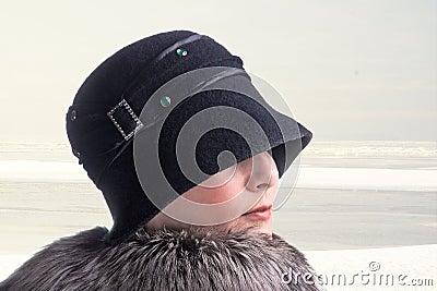 Woman on winter walk.