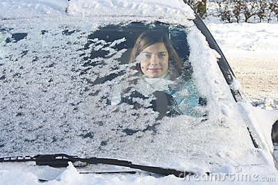 Woman winter windshield