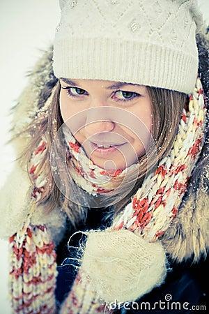Woman in wintry coat