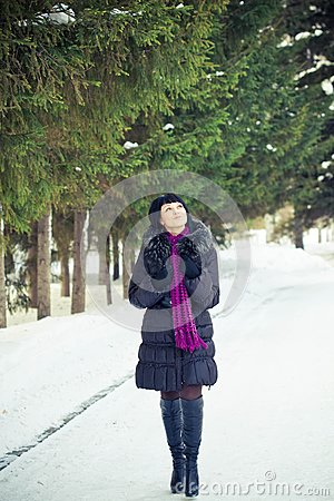 Woman in wintry coat