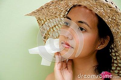 Woman wipe sweat
