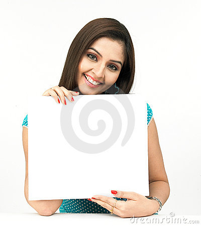 Free Woman With A Blank Placard Stock Photo - 8090970