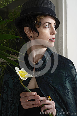 Free Woman With A Daffodil Stock Images - 32543754