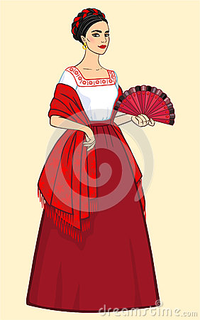 Free Woman With A Fan In Ancient Clothes Stock Images - 42459044