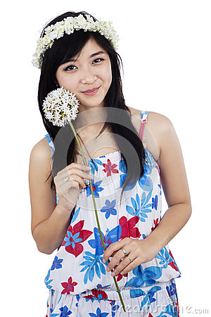 Free Woman With A Flower Stock Photo - 37088230