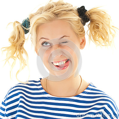 Free Woman With A Funny Look On Her Face Smiles Stock Photography - 32317852