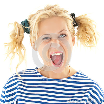 Free Woman With A Funny Look On Her Face Smiles Royalty Free Stock Photography - 32317857