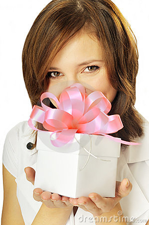 Free Woman With A Gift In Her Hands Royalty Free Stock Photos - 11565528