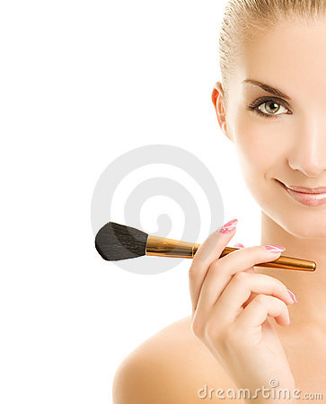 Free Woman With A Make-up Brush Stock Photo - 5750910