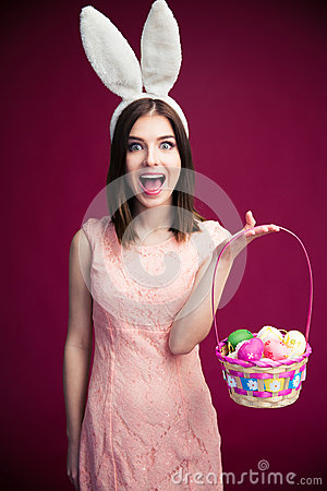 Free Woman With An Easter Egg Basket Stock Image - 52296551