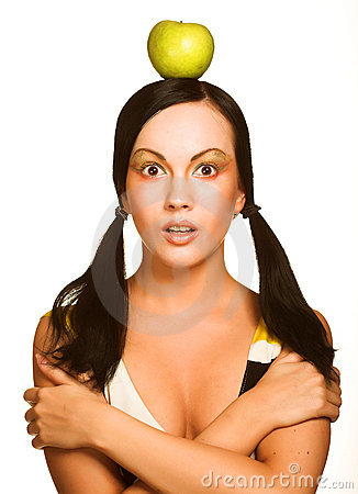 Free Woman With Apple On Her Head, Over White Stock Photography - 12298952