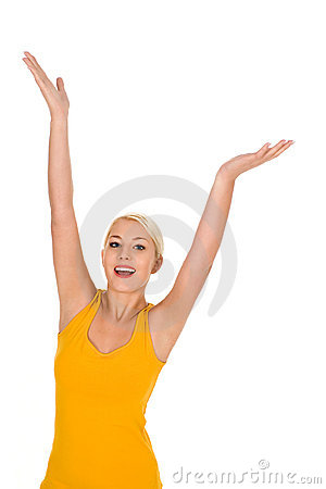 Free Woman With Arms Raised Stock Image - 7844241