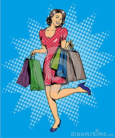 Free Woman With Bags Shopping. Vector Illustration In Comics Pop Art Style. Special Sale Offers Advertising Poster Stock Photography - 74332652