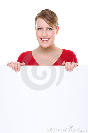Free Woman With Blank Sign Royalty Free Stock Images - 9636109