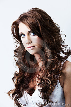 Free Woman With Blue Eyes And Long Curly Hair Royalty Free Stock Images - 14407139
