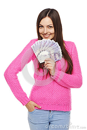 Free Woman With British Pounds Stock Photos - 48904383