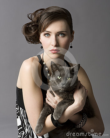 Free Woman With Cat Royalty Free Stock Photo - 12597945