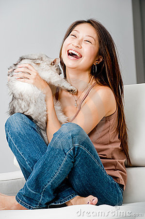 Free Woman With Cat Royalty Free Stock Image - 13239396