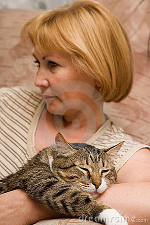 Free Woman With Cat Stock Photo - 1631860
