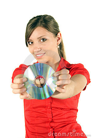 Free Woman With CD Or DVD Royalty Free Stock Photos - 2519648