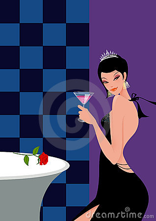 Free Woman With Cocktail In A Bar In Evening Dress Royalty Free Stock Image - 19738156
