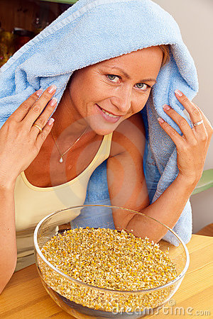 Free Woman With Cold Inhaled Chamomile Royalty Free Stock Image - 17107936
