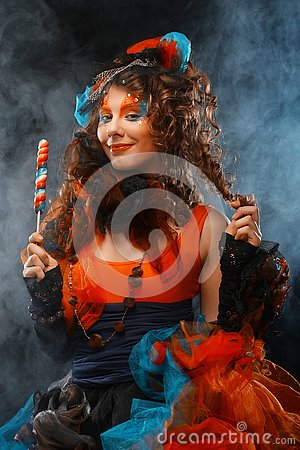Free Woman With Creative Make-up In Doll Style With Candy. Stock Photos - 129004943