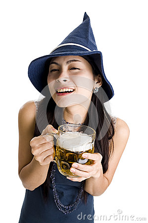 Free Woman With Draft Beer Stock Photos - 25051103