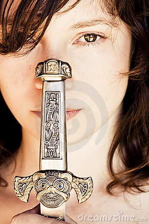 Free Woman With Fantasy Dagger Royalty Free Stock Image - 5765256