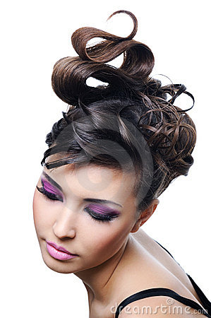 Free Woman With Fashion Hairstyle And Bright Make-up Royalty Free Stock Photos - 8344718