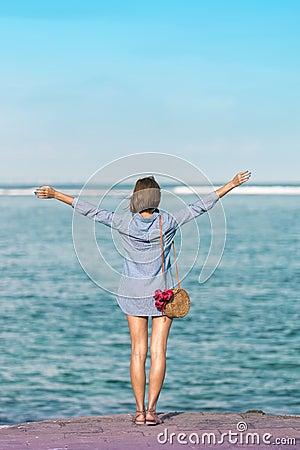 Free Woman With Fashionable Stylish Rattan Bag And Silk Scarf Outside. Tropical Island Of Bali, Indonesia. Rattan Handbag And Royalty Free Stock Images - 115190869