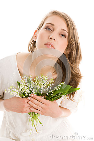 Free Woman With Flowers Stock Photo - 30195620