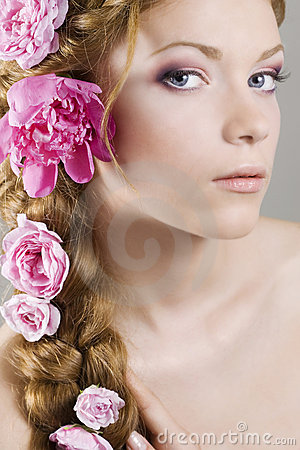 Free Woman With Flowers In Hair Stock Photo - 14581690