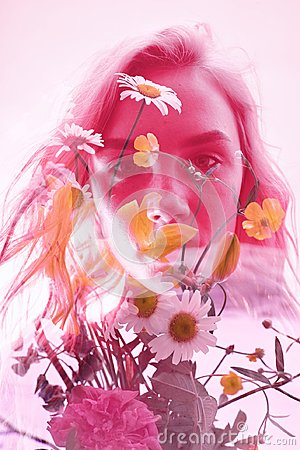 Free Woman With Flowers Inside, Double Exposure. Blonde Girl In Lingerie On Crimson Background, Dreamy Mysterious Look. Wildflowers Royalty Free Stock Image - 122001326