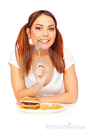 Free Woman With French Fries Royalty Free Stock Images - 18034509