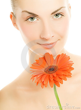 Free Woman With Gerber Flower Royalty Free Stock Image - 5142426