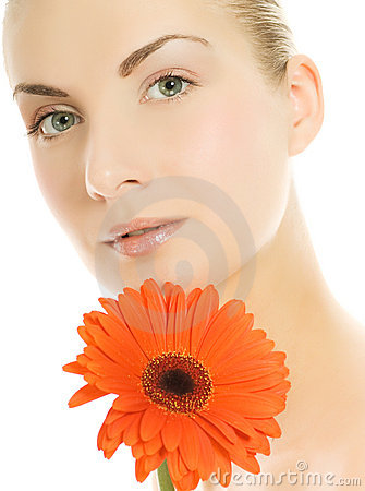 Free Woman With Gerber Flower Stock Images - 5723434