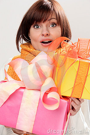Free Woman With Gifts Royalty Free Stock Photos - 11021478