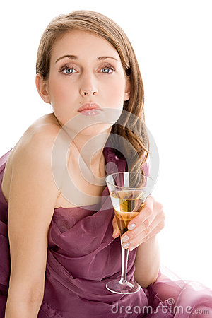Free Woman With Glass Of Champagne Royalty Free Stock Photography - 30195647