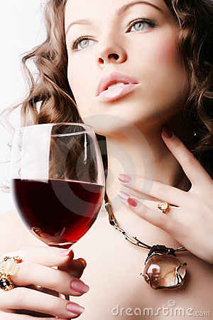 Free Woman With Glass Red Wine Stock Photo - 4332140