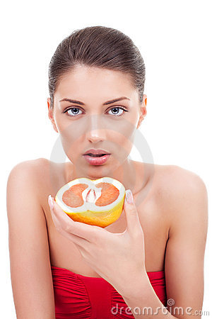 Free Woman With Grapefruit Stock Image - 20881401
