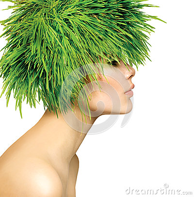 Free Woman With Green Grass Hair Royalty Free Stock Images - 30489329