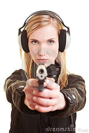 Free Woman With Gun And Ear Protection Stock Image - 13974441