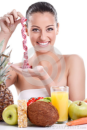 Free Woman With Healthy Food And Measuring Tape Royalty Free Stock Images - 27520359