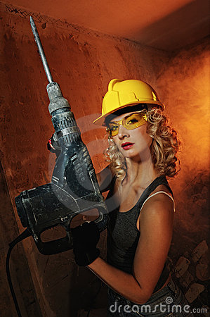 Free Woman With Heavy Perforator Stock Photo - 10634650